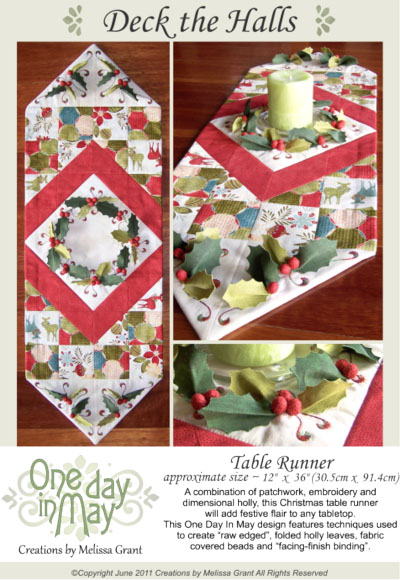 OD6 Deck the Halls Table Runner ~ pattern cover