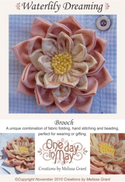 Waterlily Dreaming Brooch  pattern front ~ One Day In May