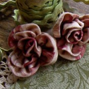 Block 1 features fabric roses