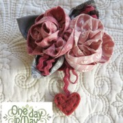 Sweet Roses Brooch ~ pink and grey