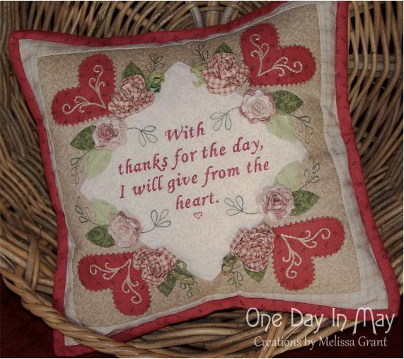 Thankful Block 1 - made into a cushion (1)
