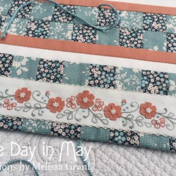 Petite Blooms Needlework Roll feature panel & braided ties