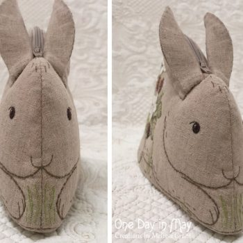Bunny in the Blackberries ~ zipper pouch face detail