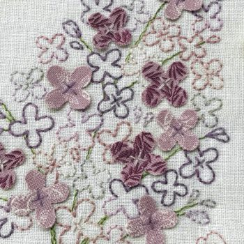 Sweet Lilacs - embroidered lilac with dimensional petals