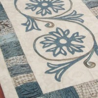 A Cornflower Gathering ~ Table Runner close up