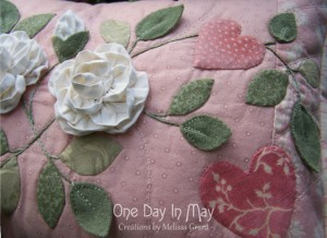 As Roses Bloom cushion closeup