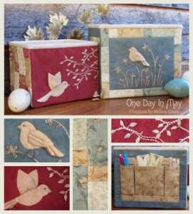 Bird of the Meadow - fabric storage boxes