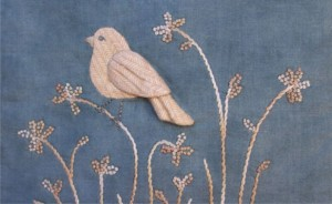 Birds of the Meadow sitting bird panel