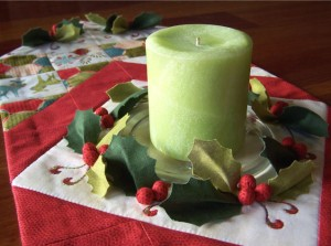 Deck the Halls Table Runner - centre with candle