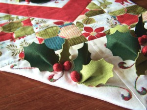 Deck the Halls Table Runner - end panel detail
