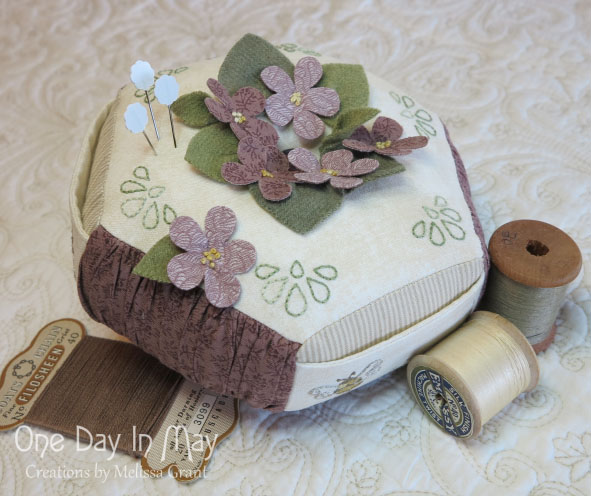 For the Love of Violets - hexagonal pincushion