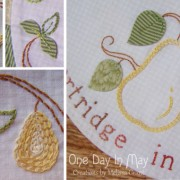 In a Pear Tree - stitched detail and dimensional leaves