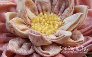 Waterlily Dreaming Brooch ~ closeup of centre