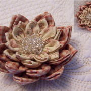 Waterlily Dreaming Brooch in dusty reds