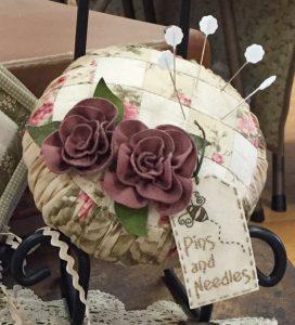 Roses and Ruching Pincushion ~ vintage style fabrics