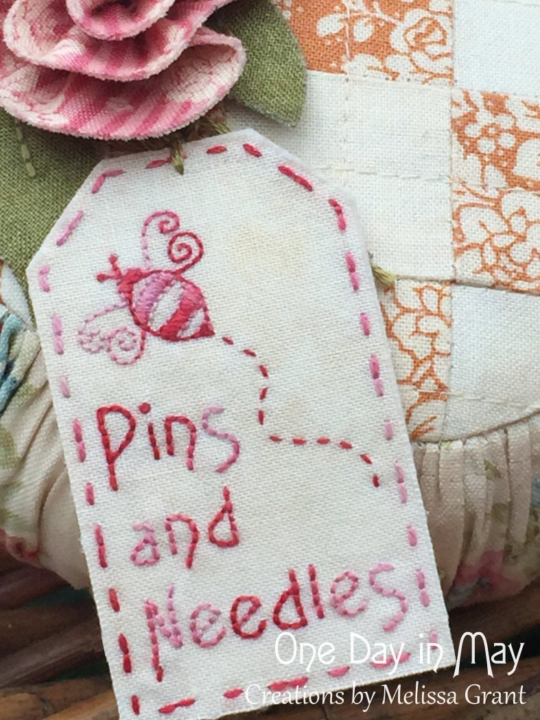 Roses and Ruching embroidered tag