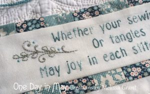 Petite Blooms - Needlework Roll embroidered verse