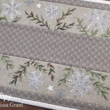 A Scattering of Snow ~ embroidered table mat