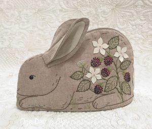 Bunny in the Blackberries ~ zipper pouch - closed