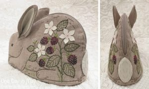 Bunny in the Blackberries ~ zipper pouch - tail detail