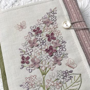 Sweet Lilacs - front of book wrap with embroidered lilac